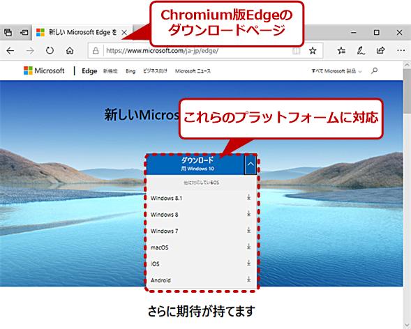 Chromium版Edgeのダウンロードページ