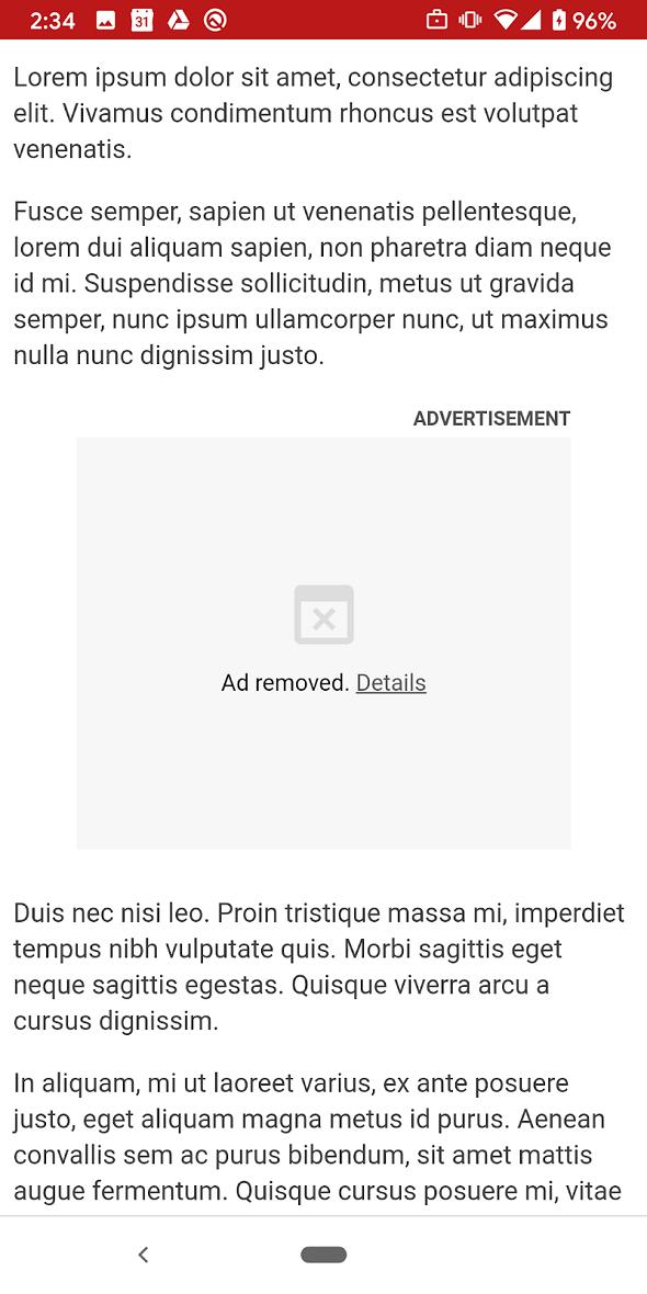 広告がアンロードされた場合のフレームの表示(出典:Google)