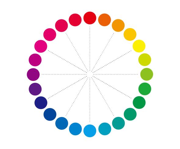 PCCS(日本色研配色体系)の色相環。24色相になっています