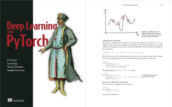 図1 『Deep Learning with PyTorch』の表紙と、中身の1ページの引用