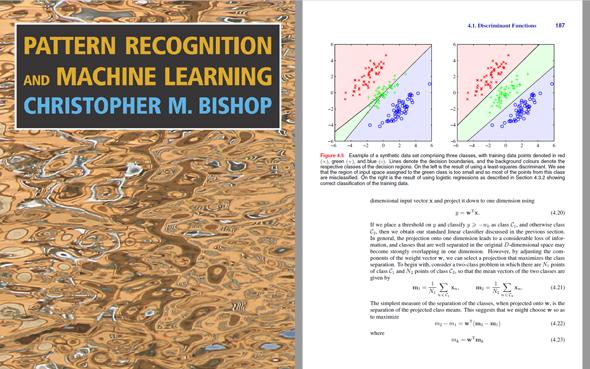 図3 『Pattern Recognition and Machine Learning』の表紙と、中身の1ページの引用