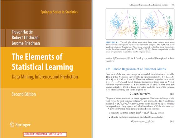 図4 『Elements of Statistical Learning』の表紙と、中身の1ページの引用