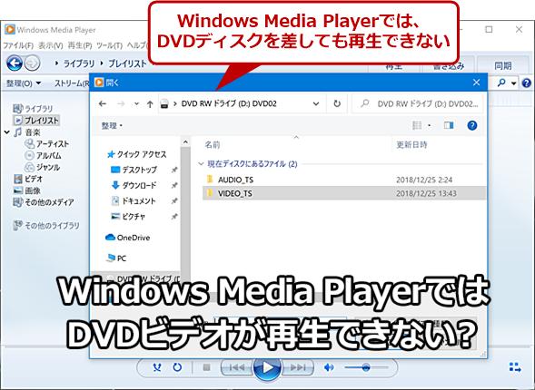 Windows 10のWindows Media PlayerではDVDビデオが再生できない?