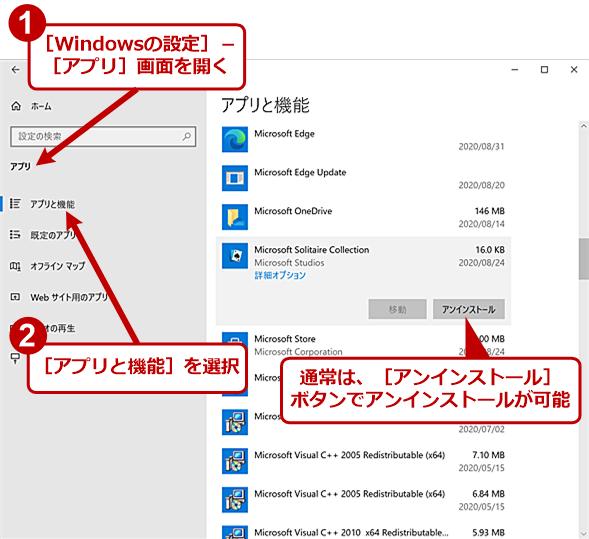 [Windowsの設定]アプリではアンインストールができない(1)