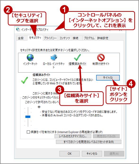 ゾーンはIEモードではなくインターネットオプションで指定する(1/2)
