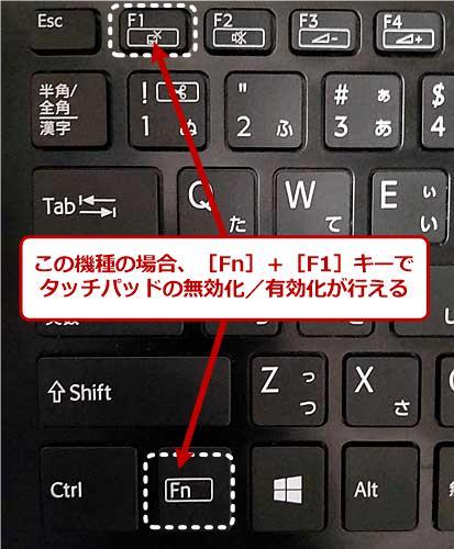 ファンクションキーでタッチパッドの無効化/有効化を行う