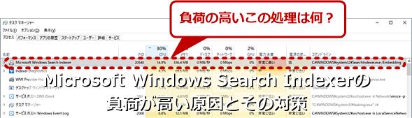 「Microsoft Windows Search Indexer」の負荷が定常的に高いときインデックス再構築を繰り返している可能性がある
