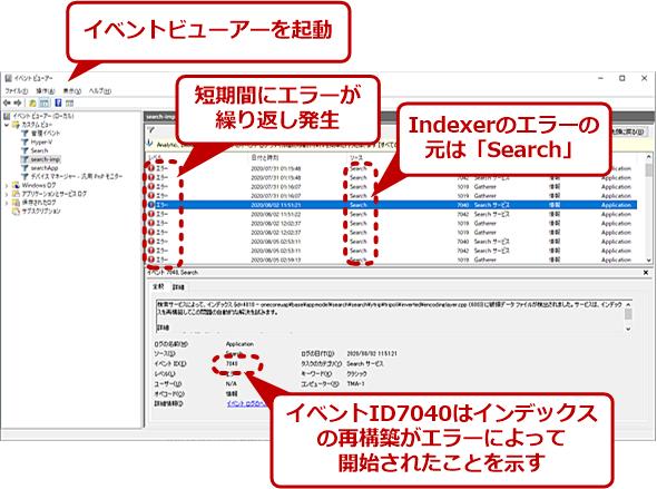 イベントビューアーでIndexerのエラーを確認する