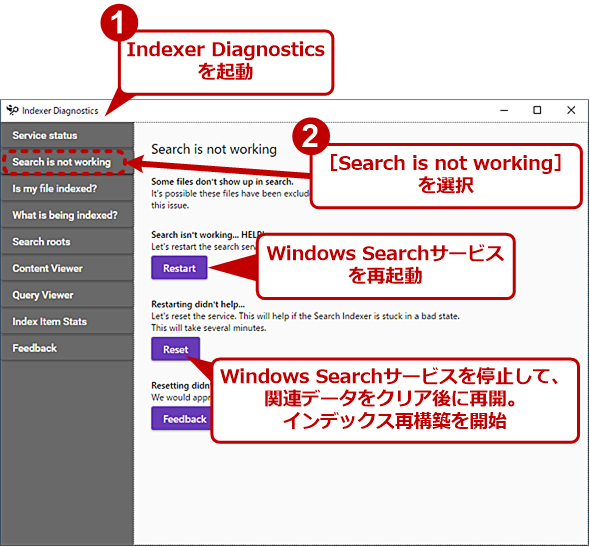 Indexer Diagnosticsツールの[Search is not working]タブの画面