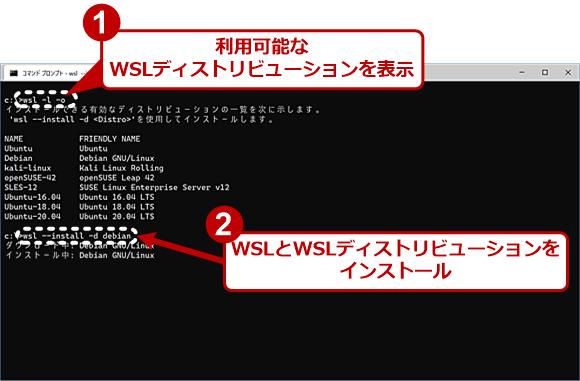 wsl.exeによるインストール(1)