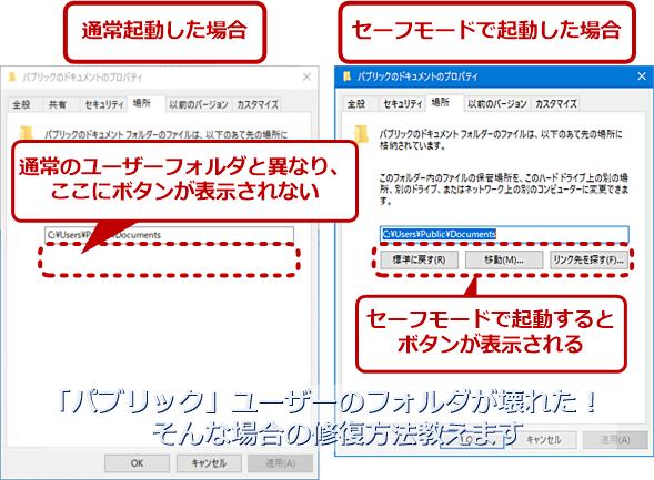 「パブリック」ユーザーの「既知のフォルダー」で変更のためのボタンを表示させる