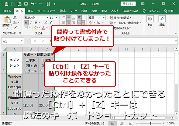 Excelで書式付きで貼り付けた表を元に戻す