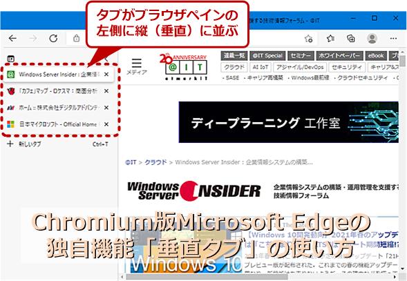 Chromium版Microsoft Edgeバージョン89で導入された「垂直タブ」機能