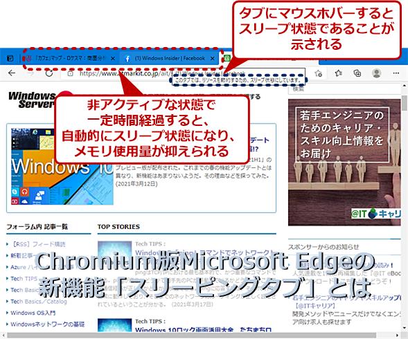 Chromium版Microsoft Edgeで実装された「スリーピングタブ」とは