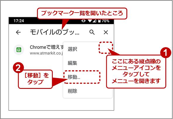 Android版Chromeでブックマークを移動して、デフォルトの保存先フォルダを変更する(1/2)