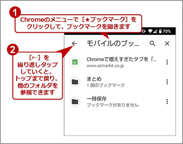 Android版Chromeで[モバイルのブックマーク]以外のトップフォルダを参照する