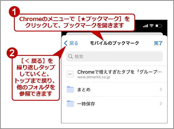 iPhone版Chromeで[モバイルのブックマーク]以外のトップフォルダを参照する