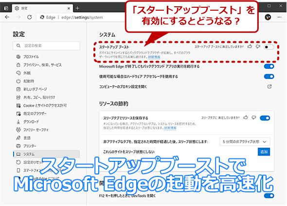 Microsoft Edgeでサポートされた「スタートアップブースト」とは