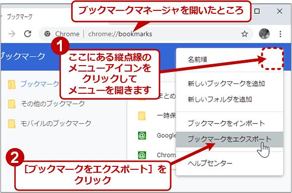 PC版Chromeでブックマークをエクスポートする(1/2)