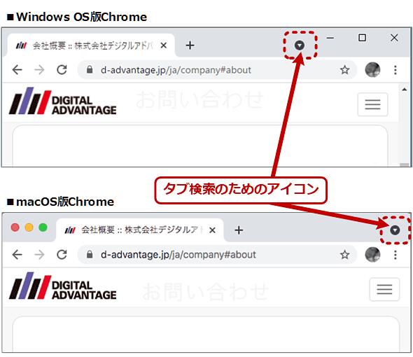 タブ検索のアイコン(上:Windows OS版、下:macOS版)