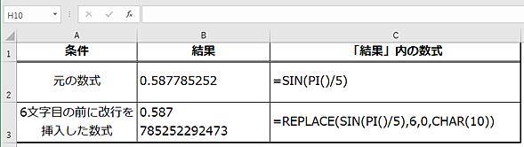 数式の計算結果に「REPLACE」関数を使って改行を挿入できる