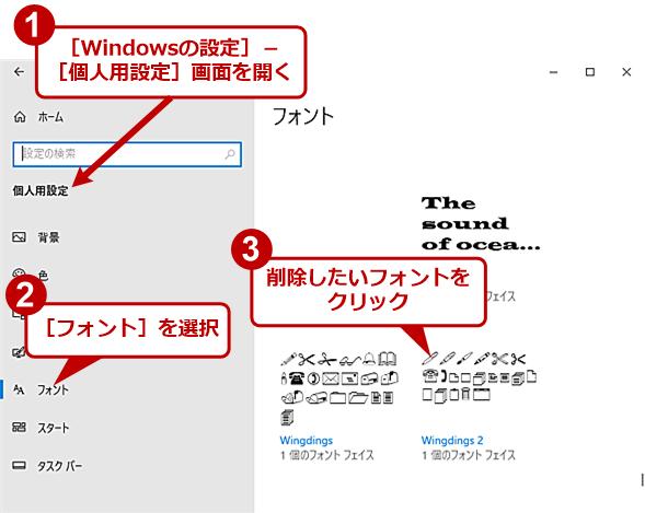 [Windowsの設定]アプリでフォントを削除する(1)