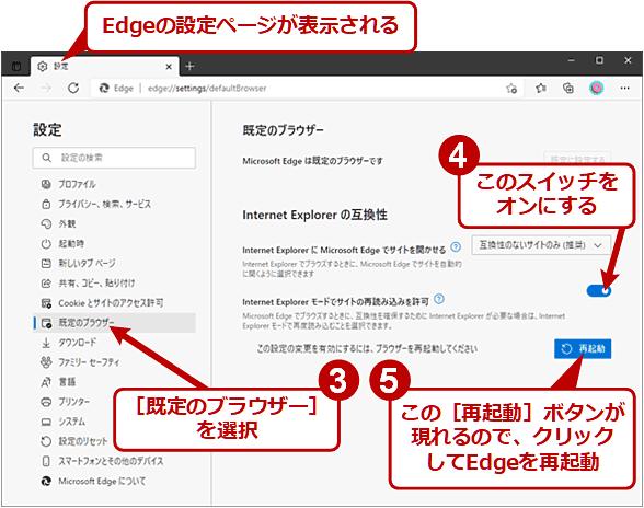 「Internet Explorerモードで再度読み込む」を有効化する(2/2)