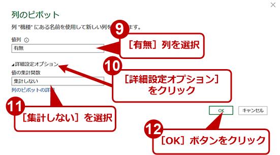 リスト表をマトリックス表に変換する(3)