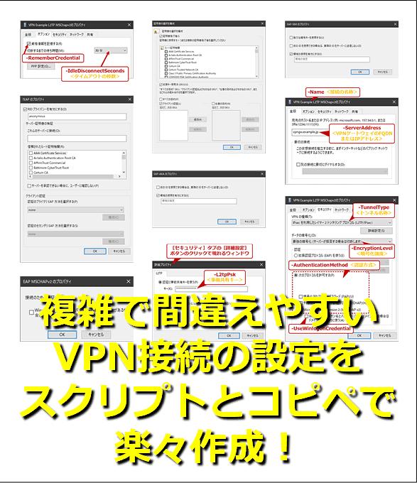 複雑で間違えやすいVPN接続の設定をスクリプトとコピペで楽々作成!