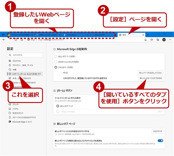 開いているWebページを全て登録する(1)