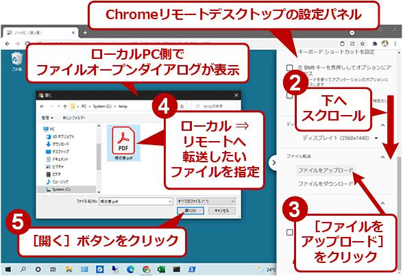 Chromeリモートデスクトップでローカル ⇒ リモートへファイルを転送するには(2/4)