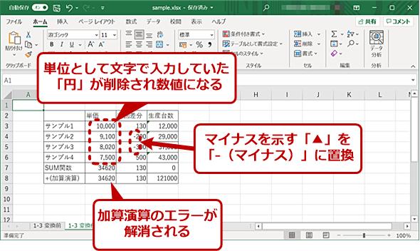 表を数値データのみにする(3)