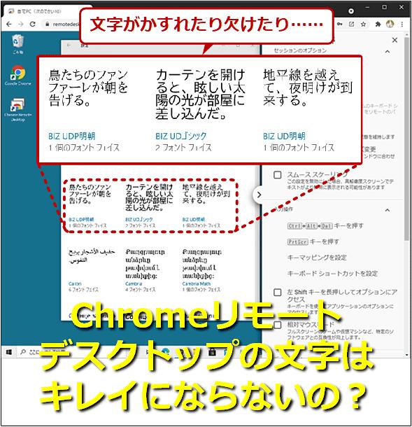 文字がかすれたり欠けたり…… Chromeリモートデスクトップの文字はキレイにならないの?