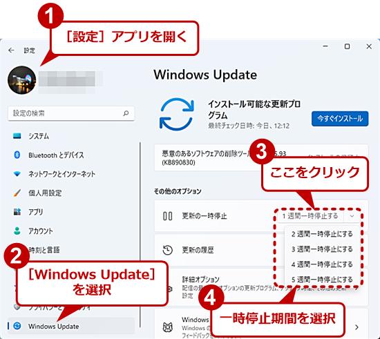 Windows 11の[設定]アプリの[Windows Update]画面