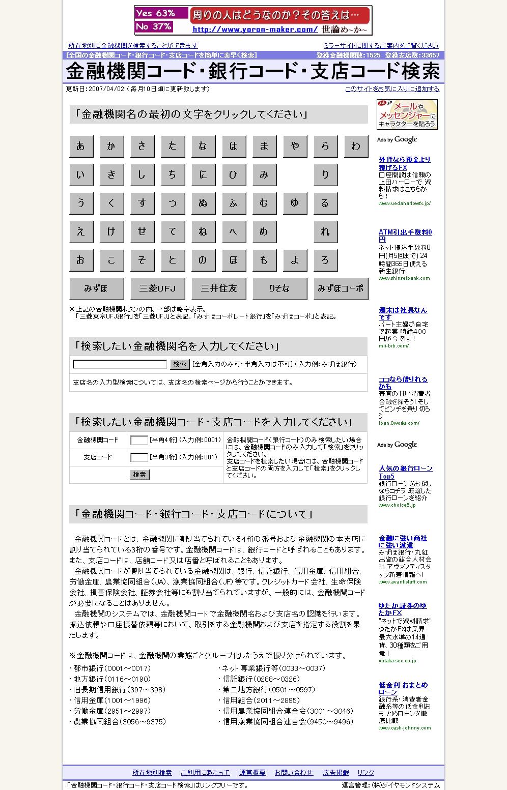 金融 コード 住友 銀行 三井 機関