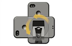 iPhone 4、iPad用スタンドは縦置き/横置きに切り替え可能