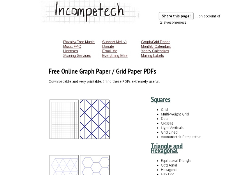 pdfで無料ダウンロードできてすぐ使える ノートやグラフ用紙の配布