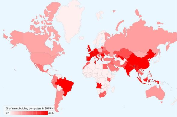 欧州諸国が高い比率の他、アジアではインドや中国の感染率が高い