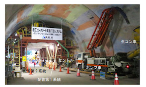 模擬トンネルでの覆工コンクリート打設状況(前方を臨む)
