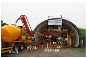 「模擬トンネルでの覆工コンクリート打設状況(後方を臨む)