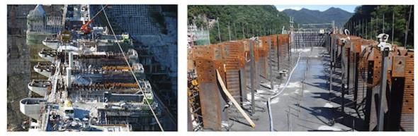 八ッ場ダムにおけるストライプHの施工状況