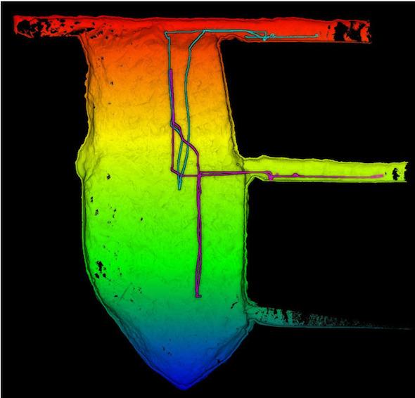 SLAM搭載ドローンの飛行により作成された地下採掘現場の3Dモデル