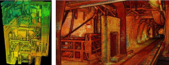 クラッシャーステーションなどの鉱山設備も詳細に把握できる