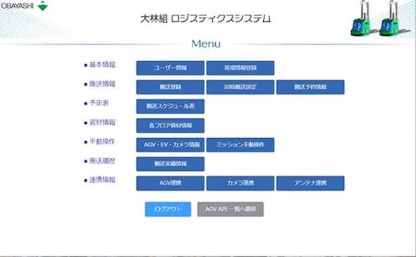 ロジスティクスシステムの操作画面