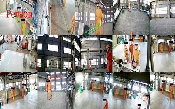 作業領域へ侵入した人の動きを天井カメラとAIで瞬時に検知する