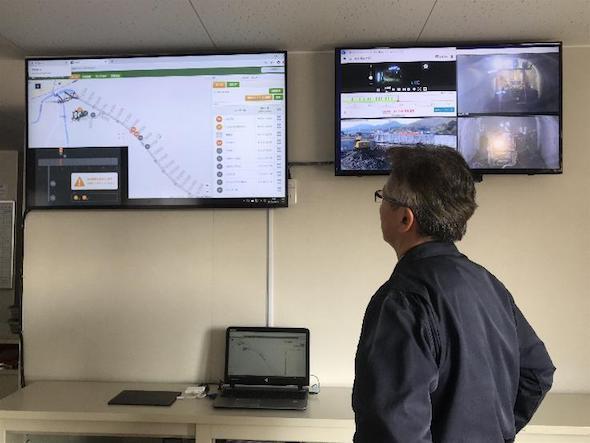 現場事務所での車両位置のモニタリング状況
