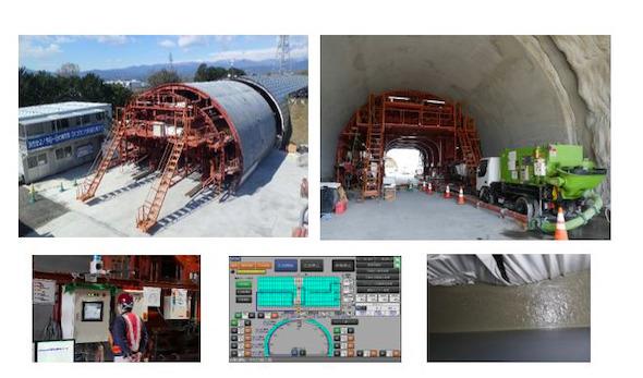 模擬トンネルで覆工コンクリートを自動打設中