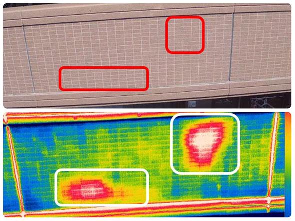 同様のマンション外壁の(上)可視光カメラでの撮影(下)赤外線カメラでの撮影