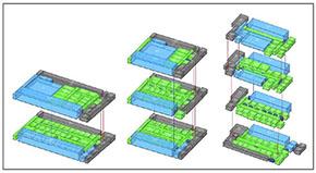 複数プランの検討(左から2階建案・3階建案・4階建案)