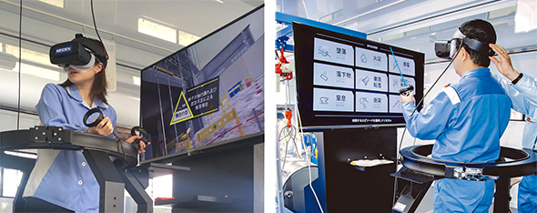 3軸シミュレーターを利用したVR安全体感教育の様子